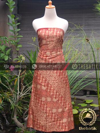 Bahan Kemeja Batik Sutera Motif Parang Merah Emas