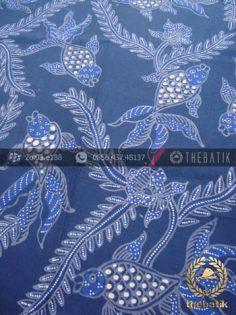 Kain Batik Tulis Motif Ikan Mas Warna Biru