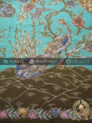 Bahan Batik Seragam Motif Merak Remukan Tosca