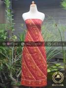 Bahan Baju Batik Sutera Motif Parang Merah Modern