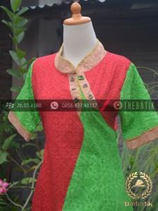 Jual Model Baju Batik Wanita Kombinasi Merah Hijau Emboss Thebatik