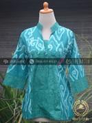 Model Baju Batik Wanita Megamendung Tosca