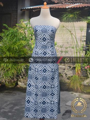 Kain Batik Bahan Baju Motif Etnik Biru Dongker