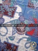Bahan Seragam Batik Abstrak Floral Biru
