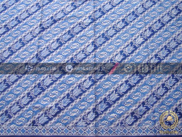 Kain Bahan Baju Batik Pekalongan Motif Lereng Biru