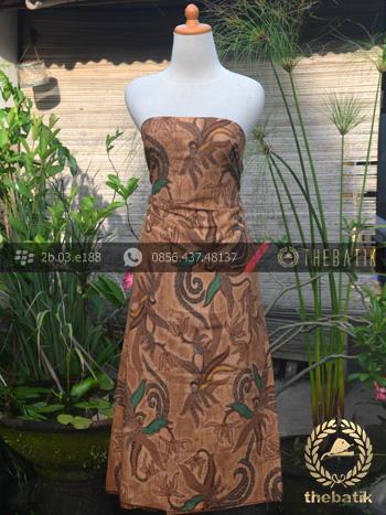 Kain Batik Solo Motif Figuratif Floral Coklat