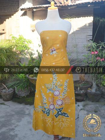 Kain Batik Tulis Coletan Buketan Kuning