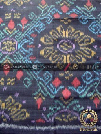 jual bahan baju tenun ikat motif etnik hitam biru