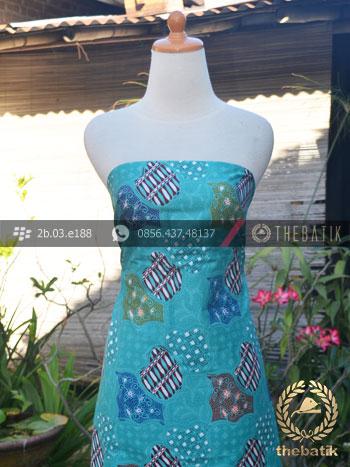 Bahan Batik Seragam Motif Sekarjagad Modern Tosca
