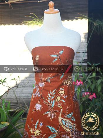 Kain Batik Bahan Baju Motif Remukan Burung Merak Coklat