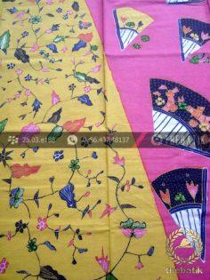 Kain Batik Tulis Motif Pagi Sore Kuning Pink