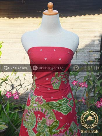 Bahan Baju Batik Tulis Naga Besar Merah