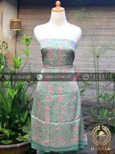 Bahan Baju Batik Sutera Floral Hijau Colet Pink
