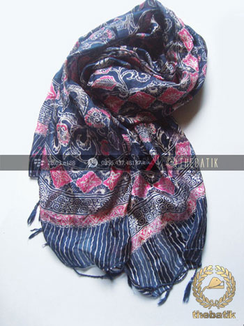 Batik Shawl Indonesia Motif Floral Biru Pink