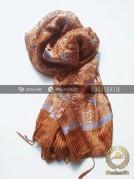 Batik Shawl Indonesia Motif Floral Coklat
