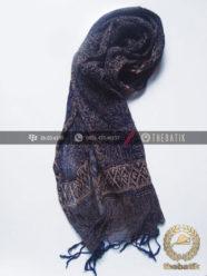 Syal Batik Sutra Warna Biru Dongker