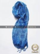 Syal Batik Sutra Warna Biru Muda