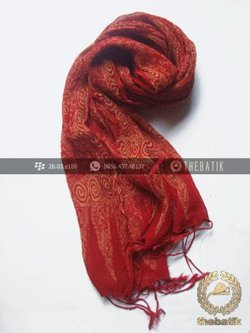 Syal Batik Sutra Warna Merah