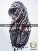 Shawl Corak Batik Sutera Warna Hitam Putih