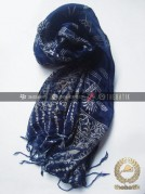 Shawl Corak Batik Sutera Warna Biru Dongker