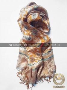 Selendang Batik Sutra Warna Kuning Floral