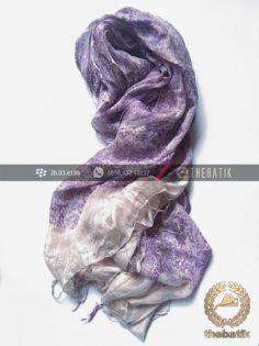 Selendang Batik Sutra Warna Ungu Terong