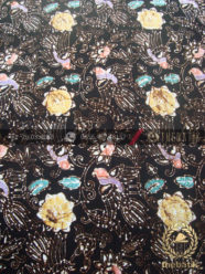 Bahan Batik Remukan Coletan Burung Floral Hitam