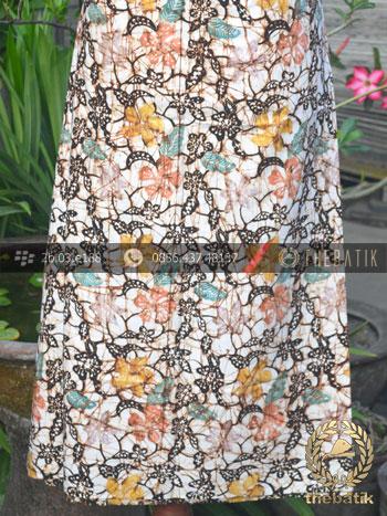Bahan Batik Remukan Coletan Floral Bunga Latar Putih