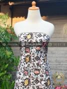 Kain Batik Remukan Coletan Floral Kembang Latar Putih