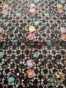 Kain Batik Remukan Coletan Kawung Picis Floral Hitam