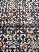 Kain Batik Remukan Coletan Kawung Picis Floral Hitam | THEBATIK.co.id