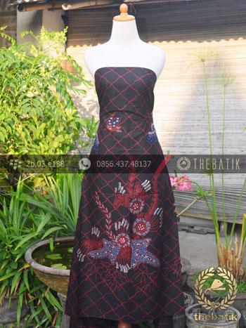 Kain Batik Tulis Jogja Motif Buketan Floral Latar Hitam