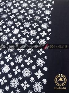 Bahan Baju Batik Hitam Putih Ceplok Bintang Tumpal Polos