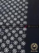 Bahan Baju Batik Hitam Putih Kembang Tanjung Tumpal Polos