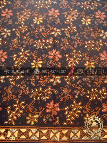 Bahan Baju Batik Kombinasi Tulis Floral Klasik Coletan