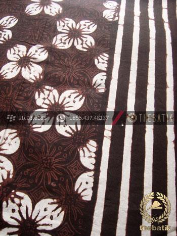 Jual Bahan Baju Batik Motif Kawung Prabu Hitam Garis