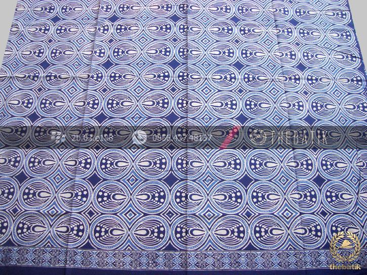 Bahan Baju Batik Etnik Biru Kombinasi Tulis