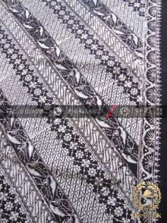 Kain Batik Cap Jogja Motif Lereng Hitam Putih