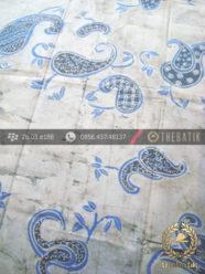 Batik Tulis Pewarna Alami Motif Keongan Indigo Latar Putih