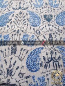 Batik Tulis Pewarna Alami Sido Asih Latar Putih Indigo