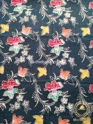 Kain Batik Indigo Coletan Motif Bunga Terompet Merah