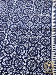 Bahan Kain Batik Kelengan Jarak Kepyar Biru Dongker