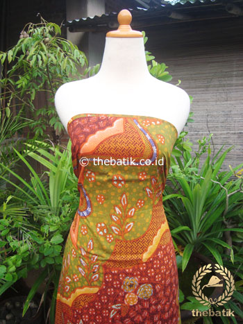 Kain Batik Katun Jepang Motif Abstrak Hijau Marun