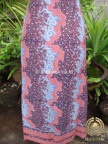 Kain Batik Katun Jepang Motif Bunga Kontemporer Pink Ungu