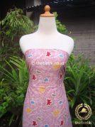 Kain Batik Katun Jepang Motif Floral Pink Pastel Coletan