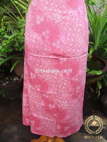 Kain Batik Katun Jepang Motif Lereng Bunga Pink