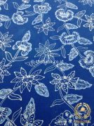 Kain Batik Tulis Warna Alam Floral Latar Biru