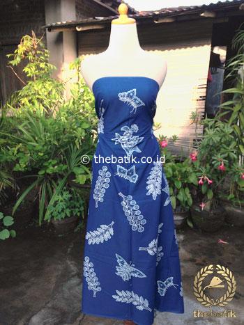 Kain Batik Tulis Warna Alam Motif Kembang Kapas Biru