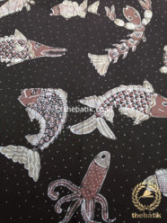 Kain Batik Tulis Warna Alam Motif Ikan Coklat Tua