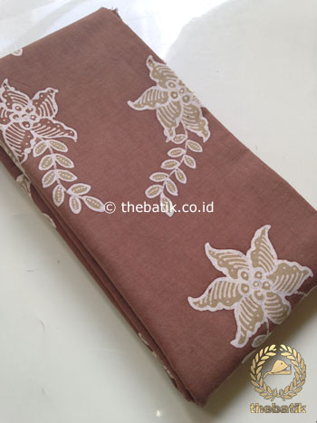 Kain Batik Tulis Warna Alam Motif Floral Coklat Muda